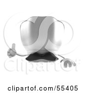 Royalty Free RF Clipart Illustration Of A 3d Chefs Hat Character With A Mustache Giving The Thumbs Up And Standing Behind A Blank Sign