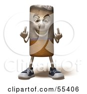 Royalty Free RF Clipart Illustration Of A 3d Cigarette Character Holding Up His Middle Finger Version 5 by Julos