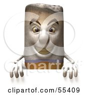 Royalty Free RF Clipart Illustration Of A 3d Cigarette Character Standing Behind A Blank Sign by Julos