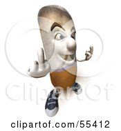 3d Cigarette Character Holding Up His Middle Finger - Version 8