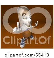 Royalty Free RF Clipart Illustration Of A 3d Cigarette Character Holding Up His Middle Finger Version 4