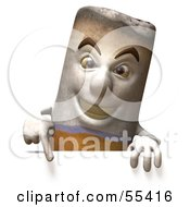Royalty Free RF Clipart Illustration Of A 3d Cigarette Character Pointing Down And Standing Behind A Blank Sign by Julos