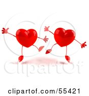Royalty Free RF Clipart Illustration Of Two Happy 3d Red Heart Characters Jumping Version 2 by Julos