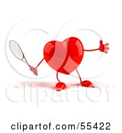 Royalty Free RF Clipart Illustration Of A Romantic 3d Red Heart Character Playing Tennis Version 1 by Julos