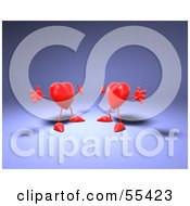 Royalty Free RF Clipart Illustration Of Two 3d Red Heart Characters Holding Their Arms Open For A Hug Version 2 by Julos