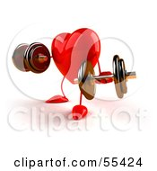Royalty Free RF Clipart Illustration Of A Romantic 3d Red Heart Character Strength Training With Dumbbells Version 2 by Julos