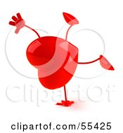 Romantic 3d Red Heart Character Doing A Cartwheel Version 1 by Julos