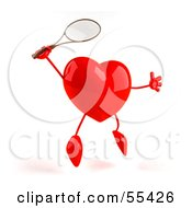 Royalty Free RF Clipart Illustration Of A Romantic 3d Red Heart Character Playing Tennis Version 2 by Julos