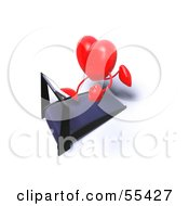 Romantic 3d Red Heart Character Running On A Treadmill Version 6 by Julos