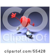 Royalty Free RF Clipart Illustration Of A Romantic 3d Red Heart Character Inline Skating Version 1 by Julos