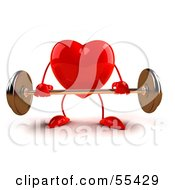 Royalty Free RF Clipart Illustration Of A Romantic 3d Red Heart Character Lifting A Barbell Version 6 by Julos