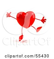 Royalty Free RF Clipart Illustration Of A Romantic 3d Red Heart Character Jumping Version 2 by Julos