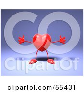 Royalty Free RF Clipart Illustration Of A Romantic 3d Red Heart Character Holding His Arms Open Version 2 by Julos