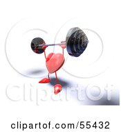 Royalty Free RF Clipart Illustration Of A Romantic 3d Red Heart Character Lifting A Barbell Version 8 by Julos