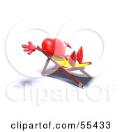 Romantic 3d Red Heart Character Sun Bathing In A Chair Version 6 by Julos