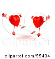 Royalty Free RF Clipart Illustration Of Two Happy 3d Red Heart Characters Jumping Version 4 by Julos