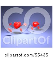 Royalty Free RF Clipart Illustration Of Two 3d Red Heart Characters Running Version 2 by Julos