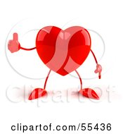 Romantic 3d Red Heart Character Giving The Thumbs Up by Julos