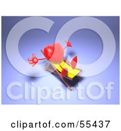 Romantic 3d Red Heart Character Sun Bathing In A Chair Version 2 by Julos