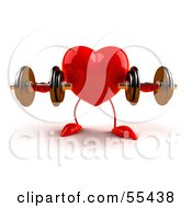 Royalty Free RF Clipart Illustration Of A Romantic 3d Red Heart Character Strength Training With Dumbbells Version 1 by Julos