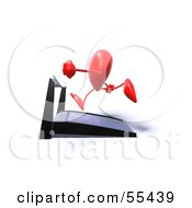 Romantic 3d Red Heart Character Running On A Treadmill Version 5 by Julos
