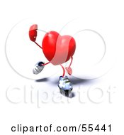Royalty Free RF Clipart Illustration Of A Romantic 3d Red Heart Character Inline Skating Version 4 by Julos