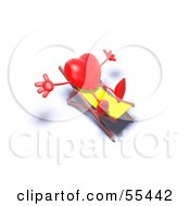 Romantic 3d Red Heart Character Sun Bathing In A Chair Version 5 by Julos