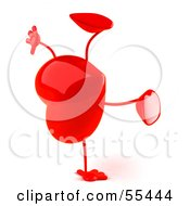 Royalty Free RF Clipart Illustration Of A Romantic 3d Red Heart Character Doing A Cartwheel Version 2 by Julos