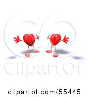 Royalty Free RF Clipart Illustration Of Two 3d Red Heart Characters Holding Their Arms Open For A Hug Version 1 by Julos