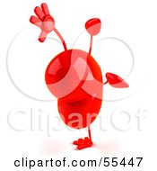 Romantic 3d Red Heart Character Doing A Cartwheel Version 3 by Julos