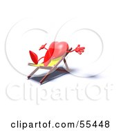 Romantic 3d Red Heart Character Sun Bathing In A Chair Version 4 by Julos
