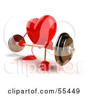 Romantic 3d Red Heart Character Lifting A Barbell Version 3 by Julos