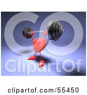 Romantic 3d Red Heart Character Lifting A Barbell Version 2 by Julos