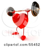 Romantic 3d Red Heart Character Lifting A Barbell Version 4 by Julos