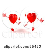Two Happy 3d Red Heart Characters Jumping Version 3 by Julos