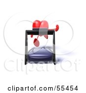 Romantic 3d Red Heart Character Running On A Treadmill Version 4 by Julos