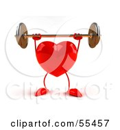 Royalty Free RF Clipart Illustration Of A Romantic 3d Red Heart Character Lifting A Barbell Version 5 by Julos