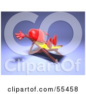 Romantic 3d Red Heart Character Sun Bathing In A Chair Version 3 by Julos