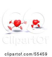 Royalty Free RF Clipart Illustration Of Two 3d Red Heart Characters Running Version 1 by Julos