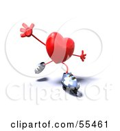Royalty Free RF Clipart Illustration Of A Romantic 3d Red Heart Character Inline Skating Version 3 by Julos