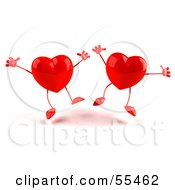 Royalty Free RF Clipart Illustration Of Two Happy 3d Red Heart Characters Jumping Version 1 by Julos