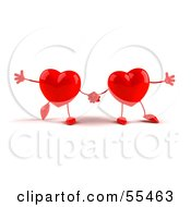 Royalty Free RF Clipart Illustration Of Two 3d Red Heart Characters Holding Hands by Julos