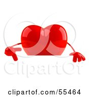 Romantic 3d Red Heart Character Pointing Down At And Standing Behind A Blank Sign by Julos