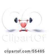 Royalty Free RF Clipart Illustration Of A Romantic 3d Red Heart Character Lifting A Barbell Version 7 by Julos