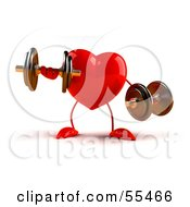 Royalty Free RF Clipart Illustration Of A Romantic 3d Red Heart Character Strength Training With Dumbbells Version 3 by Julos