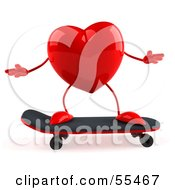 Royalty Free RF Clipart Illustration Of A Romantic 3d Red Heart Character Skateboarding Version 1 by Julos