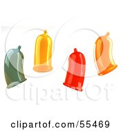 Royalty Free RF Clipart Illustration Of Four Colorful 3d Condoms by Julos