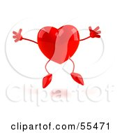 Romantic 3d Red Heart Character Jumping - Version 1