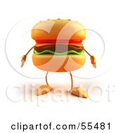 Royalty Free RF Clipart Illustration Of A 3d Cheeseburger Character Facing Front Version 1 by Julos