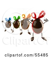 Royalty Free RF Clipart Illustration Of 3d Chocolate Easter Egg Characters Jumping Version 4